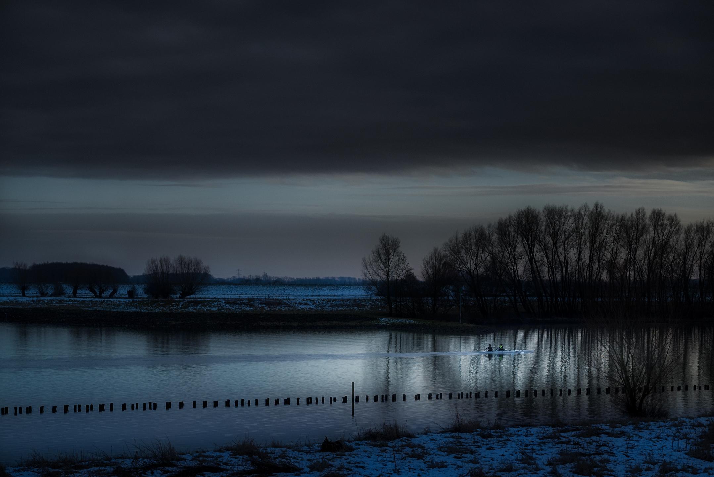 Roeiers op de Rijn