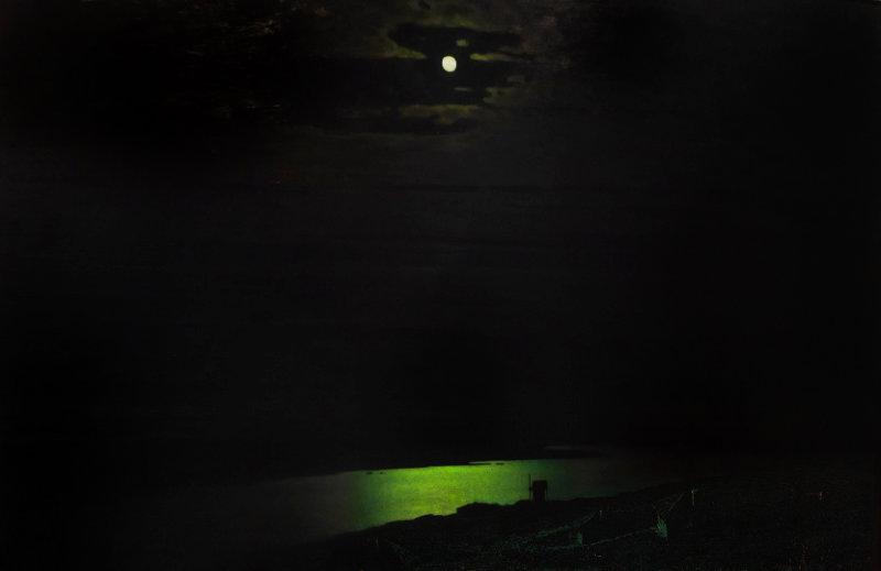 Maanverlichte nacht op de Dnjepr
