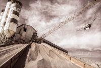 Bad Kreuznach, Duitsland, Neu Bamberg, dragline, fabriek, grind, groeve, industrieel, machine, oker, opslag, sepia, silo, steengroeve, zand
