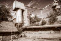 Bad Kreuznach, Duitsland, Neu Bamberg, bruin, fabriek, groeve, industrieel, oker, sepia, silo, steengroeve, zand